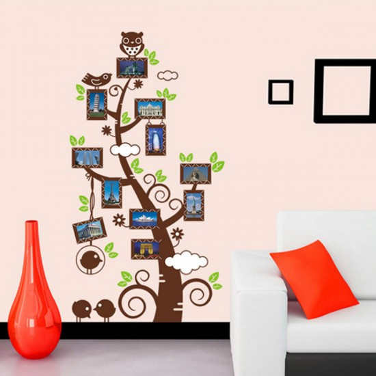 Photo Frame Tree with Owl Standing on the Top